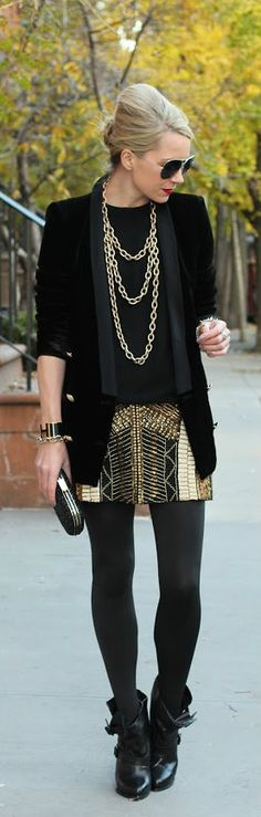 gold skirt + tights and booties + black tuxedo jacket