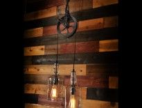 """1. Rustic wood beam pendant lighting chandelier with old bulbs 2. Cabled Wood Beam pendant lighting chandelier with bulbs A wooden beam suspended from the ceiling around which is wound cables and light bulbs make a very original rustic ceiling. It is also a very good way to integrate the """"exposed bulbs"""" trend. You should try this with colored cables ! 3. Massive Wood Beam pendant lighting chandelier with rusted chain This reclaimed wood beam pendant lighting chandelier has a beautiful…"""