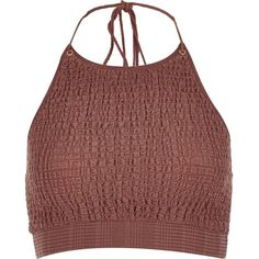 River Island RI Resort Brown shirred halter neck crop top ($40) ❤ liked on Polyvore featuring tops, crop tops, crop, brown, caftans / cover-ups, swimwear / beachwear, women, halter-neck tops, red halter top and scoop neck top