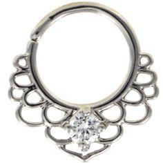 BodyDazz.com - CZ Lotus Filigree Septum Cartilage Hoop Piercing Jewelry