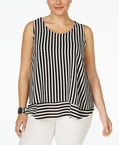 Monteau Trendy Plus Size Sleeveless Striped Blouse | macys.com