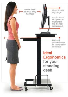 Great infographic showing simple things to keep in mind when selecting a stand-up desk or standing workstation.