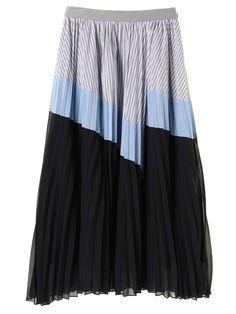 BLOCKING PLEATS LONG SKIRT|スカート | ELENDEEK (エレンディーク)公式通販 Skirt Fashion, Color Blocking, Ideias Fashion, Style Me, Runway, Stripes, Lady, Womens Fashion, Skirts