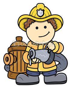 un bombero - chico vector ilustración de dibujos animados — Ilustración de stock #28819963