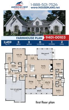 Get acquainted with Plan 9401-00103, a 2,459 sq. ft. Farmhouse offering 3 bedrooms, 3 bathrooms, split bedrooms, a breakfast nook, an open floor plan, a bonus room, mudroom, and a study. #farmhouse #modernfarmhouse #onestoryhome #architecture #houseplans #housedesign #homedesign #homedesigns #architecturalplans #newconstruction #floorplans #dreamhome #dreamhouseplans #abhouseplans #besthouseplans #newhome #newhouse #homesweethome #buildingahome #buildahome #residentialplans #residentialhome Pool House Plans, House Plans One Story, Ranch House Plans, Best House Plans, Craftsman House Plans, Country House Plans, Dream House Plans, Modern House Plans, Small House Plans