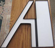 "LARGE 21 1/4"" ARCHITECTURE ARCHITECTURAL  LETTER ""A"" PLASTIC WHITE BLACK"
