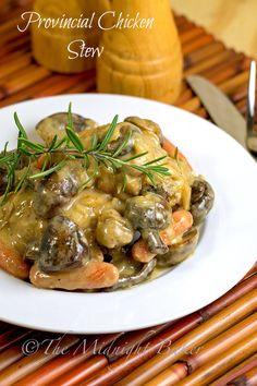 Provincial Chicken Stew | bakeatmidnite.com | #coqauvin #chickenstew