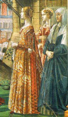 Portrait of Giovanna Tornabuoni (left Lady)  Domenico Ghirlandaio  John the Baptist cycle, Visitation, detail