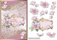 Pink Magnolia With Ornate Borders Card Front on Craftsuprint designed by Judith Mary Howells - Sized to fit in an A5 card, magnolia flowers with ornate centre panel and borders on a floral satin background. Decoupage pieces and a blank greeting panel are included. - Now available for download!