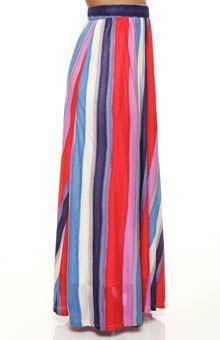 Splendid Watercolor Long Vertical Stripe Long Skirt