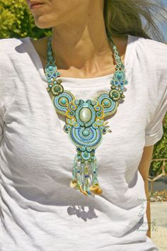 OOAK statement necklace, beaded soutache necklace, turquoise-green necklace, jasper necklace, statement jewelry, shells teal blue necklace by elrinconcitodezivi on Etsy https://www.etsy.com/listing/244775610/ooak-statement-necklace-beaded-soutache