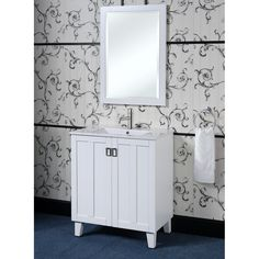 "30"" Traditional Single Sink Bathroom Vanity - White by InFurniture  Model #: IN3230-W"