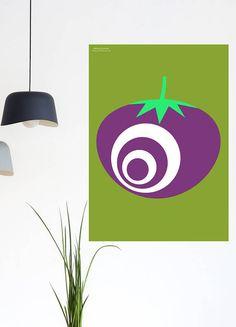 Isn't this retro tomato print fun? New design by Chiaroscuro Prints on Etsy, perfect for kitchen decor.