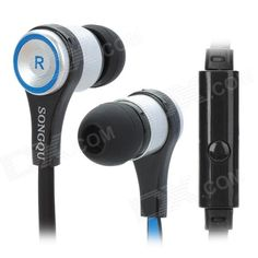 Brand: SONGQU; Model: SQ-IP2011; Type: In-Ear; Color: Black + blue + silver; Quantity: 1; With Microphone: Yes; Connector: 3.5mm; Driver Unit: 10mm; Frequency Response: 12~2200Hz; Impedance: 10ohm; Sensitivity: 108dB; Cord Length: 120cm; Other Features: Compatible with Iphone Ipad iPod; Packing List: 1 x Earphone (120cm)2 x Earplugs1 x Cable clip; http://j.mp/1sWG812