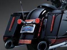 Kuryakyn Spear LED Rear Saddlebag Accents Black With Smoke Lenses Pair- Harley Davidson FL Touring with Hard Saddlebags  1993 -  2014  - 6907