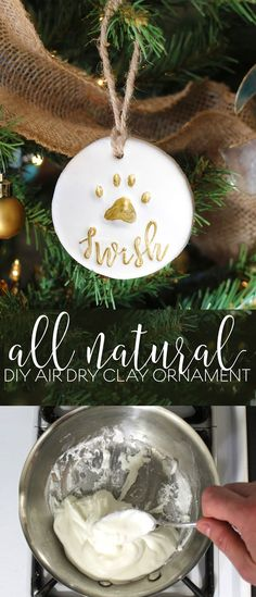 New Cost-Free clay ornaments diy Suggestions 365 Designs: Pet gift basket with personalized all natural DIY air dry clay paw print ornament Clay Ornaments, Diy Christmas Ornaments, Diy Christmas Gifts, Ornaments Ideas, Beaded Ornaments, Homemade Christmas, Christmas Decorations, Diy Air Dry Clay, Diy Clay