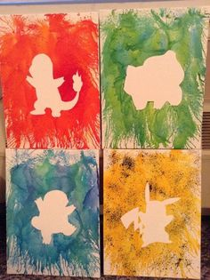 diy pokemon bedroom - Paint background color of Pokémon then adhere cutout of Pokémon and splatter paint all around it Diy Pokemon, Pokemon Room, Pokemon Party, Pokemon Birthday, Pokemon Decor, Poke Pokemon, Diy Birthday, Birthday Gifts, Ideias Diy
