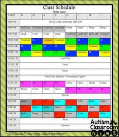 middle school autism classroom schedule