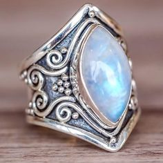 Tribal Rainbow Moonstone Ring