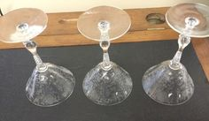 "3 Etched Glass Wine Glasses or Goblets Floral Pattern Clear 6 1/4"" Chintz  