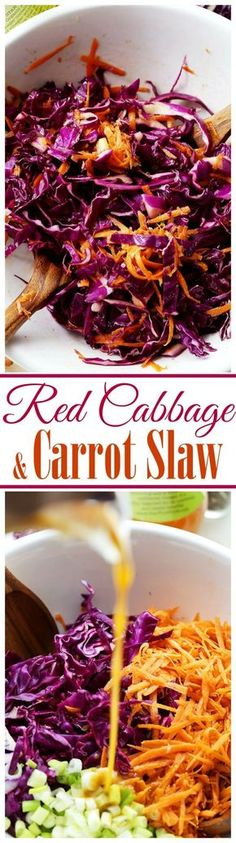 Red Cabbage and Carrot Slaw Recipe - Tossed with an incredible Apple Cider Vinaigrette, this tangy slaw is light, crunchy, refreshing, and serves perfectly as a side dish or even an appetizer