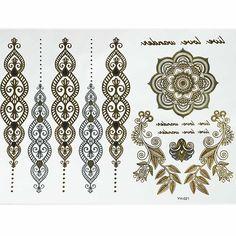 Boho Mandala Gold and Silver Temporary Tattoos