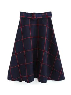 Plaid A-Line Midi Skirt With Belt - RED L