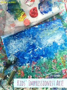 Kids' Impressionist art activity. Use plants to make paintbrushes, creating a crafty nature work of art!