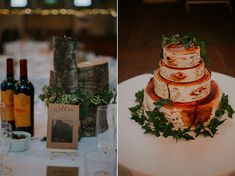 Three tier bark effect hand painted wedding cake. Images by Jamie Sia