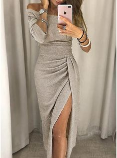 Shop Shiny Off Shoulder Ruched Thigh Slit Dress – Discover sexy women fashion at IVRose Sexy Dresses, Evening Dresses, Casual Dresses, Fashion Dresses, Fashion Clothes, Trendy Fashion, Work Dresses, Fashion Ideas, Bodycon Fashion