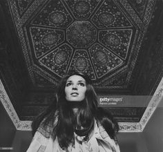 Portrait of socialite Talitha Getty (aka Mrs. Paul Getty, Jr.) posing in her Marrakech, Morocco home with an elaborate painted ceiling. January 15, 1970 VOGUE Photo by Patrick Lichfield