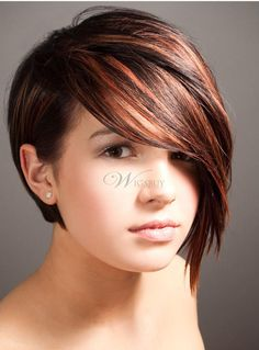 Dark Red Brunette Hair Color: Asymmetry Short Haircut love the color Short Hair Cuts For Round Faces, Round Face Haircuts, Hairstyles For Round Faces, Short Cuts, Short Hair For Round Face Double Chin, Fat Face Short Hair, Short Hair For Chubby Faces, Cool Short Hairstyles, Hairstyles Haircuts