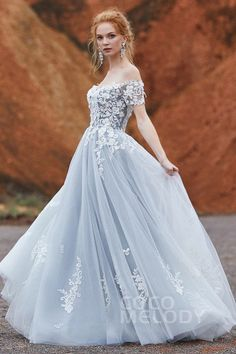 A Line Sweep Brush Train Tulle Wedding Dress Ld5830