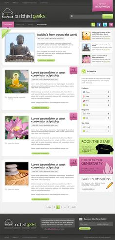 BuddHistGeeks - Impressive blog design, not responsive, but very clean with a lot of great elements! #webdesign