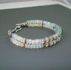 Opal Bracelet Fire Opal and Oxidized Sterling by JewelryByJacoby