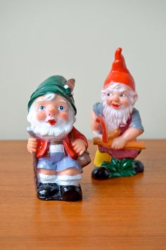 Set of 2 Vintage Bearded Garden Gnomes from Germany