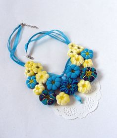 Textile necklace '' FLOWER''  turguoise  and yellow  by MSbluesky, $55.00