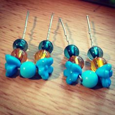 Blue Flower Bobby Pins by HMCbyKATE on Etsy