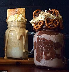 The 'Freakshow': The popular freak shakes include the Nutty Pat (left) and the Salty Pretzel (right)