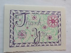 Doodled thank you card with a frame border.:::  Nice! I do love to doodle, I wonder if I could do this??