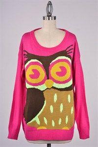 Quirky Women's Owl Sweater, rare novelties