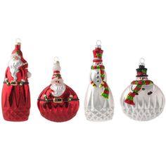 """RAZ 5.5"""" Santa and Snowmen Glass Ornaments"""