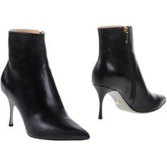 Sergio Rossi Ankle Boots ($485) ❤ liked on Polyvore featuring shoes, boots, ankle booties, black, black bootie boots, zip boots, black bootie, black ankle booties and black shootie