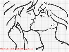 Kissing couple x-stitch Cross Stitch Silhouette, Wedding Cross Stitch Patterns, Filet Crochet Charts, Fillet Crochet, Hama Beads Patterns, Cross Stitch Heart, Sewing Projects For Kids, C2c, Le Point