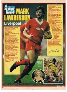 Super Focus on Mark Lawrenson of Liverpool with Shoot! magazine in Liverpool Anfield, Liverpool Legends, Liverpool Football Club, Retro Football, World Football, Football Players, Old Football Boots, English Football League