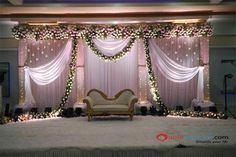 : Stage decoration ideas with flowers Stunning wedding stage decoration ideas. WOW images for stage decoration for wedding by Flower decorators. Simple Stage Decorations, Engagement Stage Decoration, Wedding Hall Decorations, Marriage Decoration, Decor Wedding, Wedding Halls, Wedding Ideas, Indian Wedding Stage, Wedding Stage Design