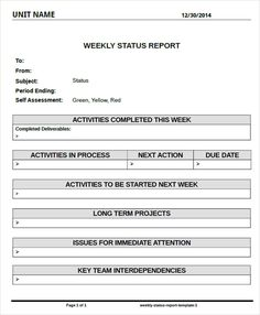 report template for weekly status example of weekly status report