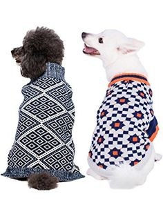 901e6873c Blueberry Pet Dog Sweater with Blue and White Diamond Pattern, Back Length  Pack of 1 Clothes for Dogs ❤ Blueberry Pet