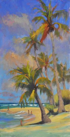 "Painting by PAPOH Signature Artist Martin Wessler called ""Poipu Palms, Abstract Tree Painting, Seascape Paintings, Animal Paintings, Painting & Drawing, Tree Paintings, Landscape Paintings, Landscapes, Hawaiian Art, Tropical Art"