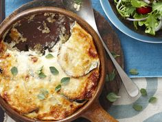 Aubergine, goats cheese and parmesan bake